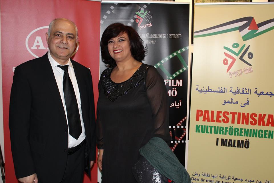 الممثلة الفلسطينية نسرين فاعور ومدير المهرجان محمد قبلاوي
