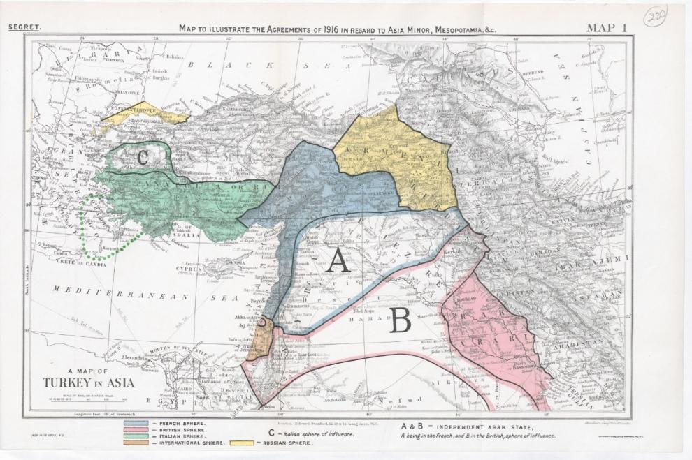 الخارطة حسب اتفاقية سايكس-بيكو