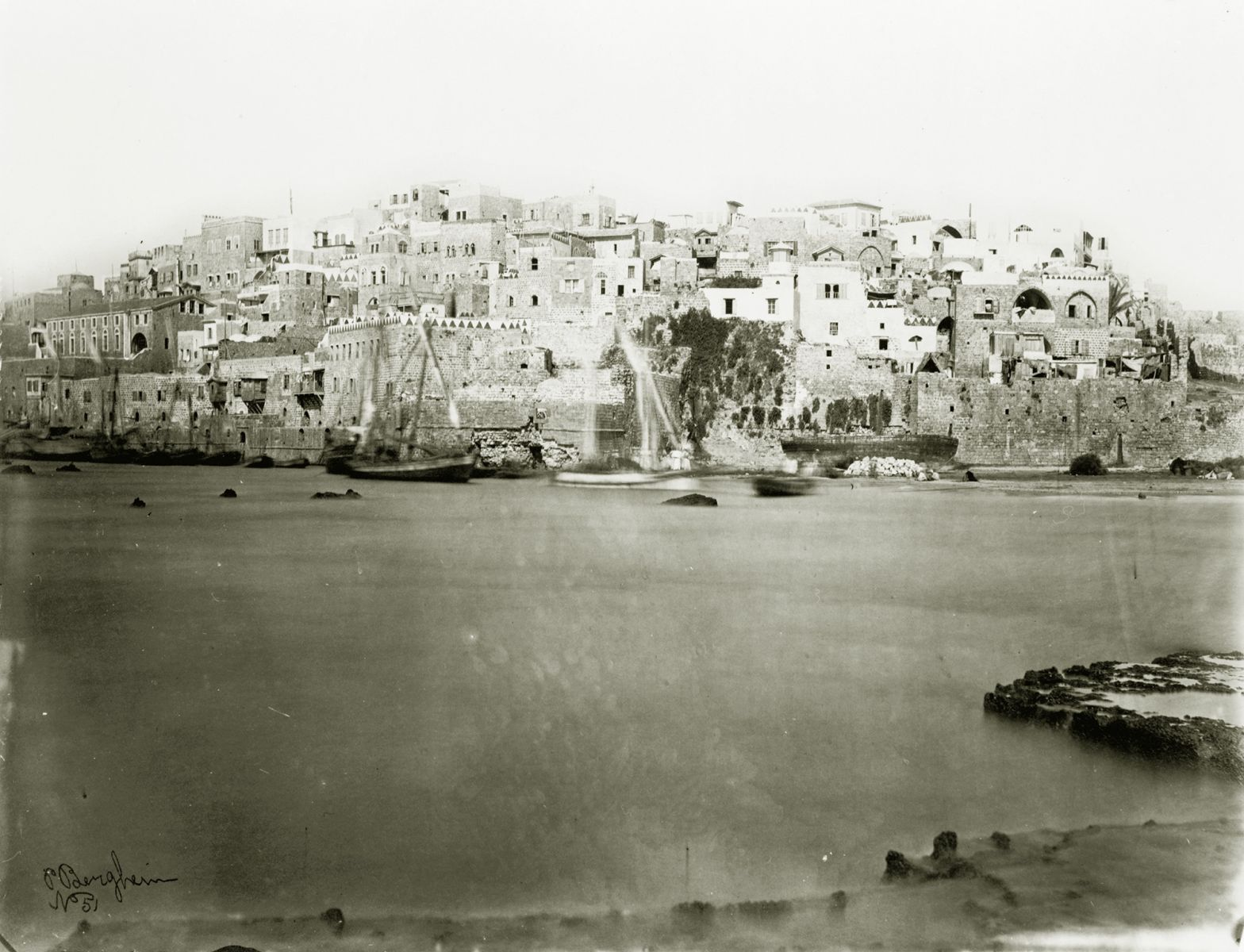 Jaffa from the sea, photograph by P. Bergheim, between 1860 and 1880. Library of Congress